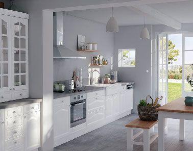 Cuisine esprit campagne blanche peinture grise Castorama | Pinterest ...