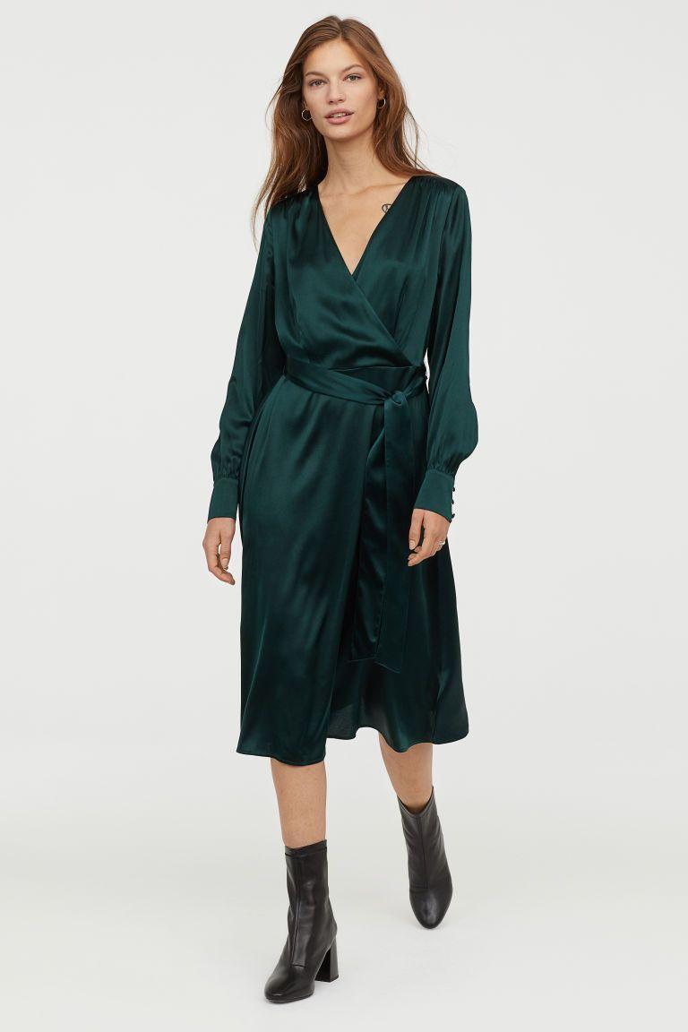 Silk-blend dress - Dark green - Ladies  afb64a5e1