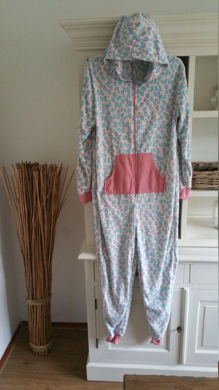 59c37ddf92e volwassen Onesie,Dalmatier design bleu/roze,Jumpsuit, pyama,Onesie ...