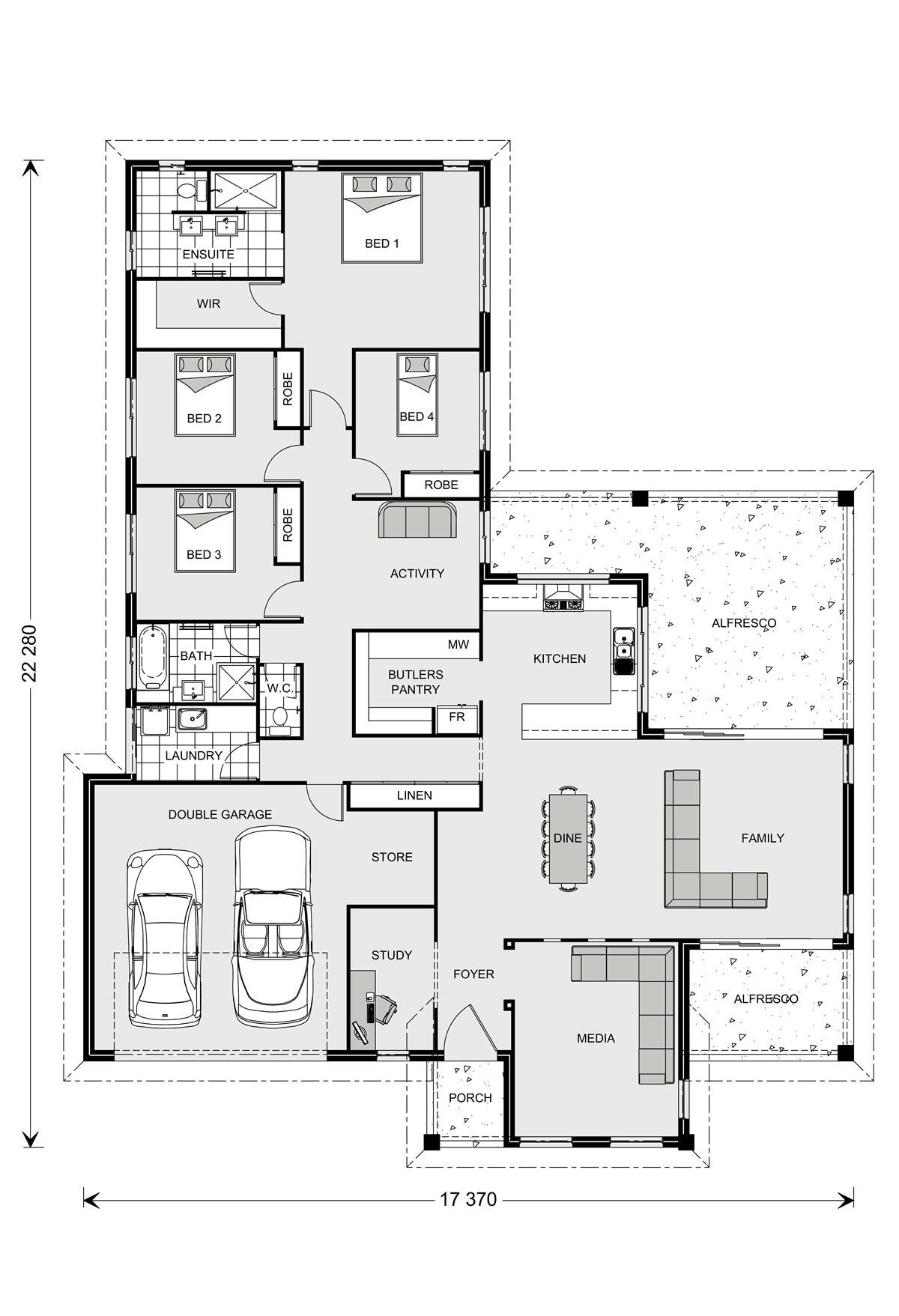 Parkview 290 4b Study Plus Massive Butlers Pantry Gj Gardner Homes For The Home Home Design Floor Plans Dream House Plans Bedroom House Plans