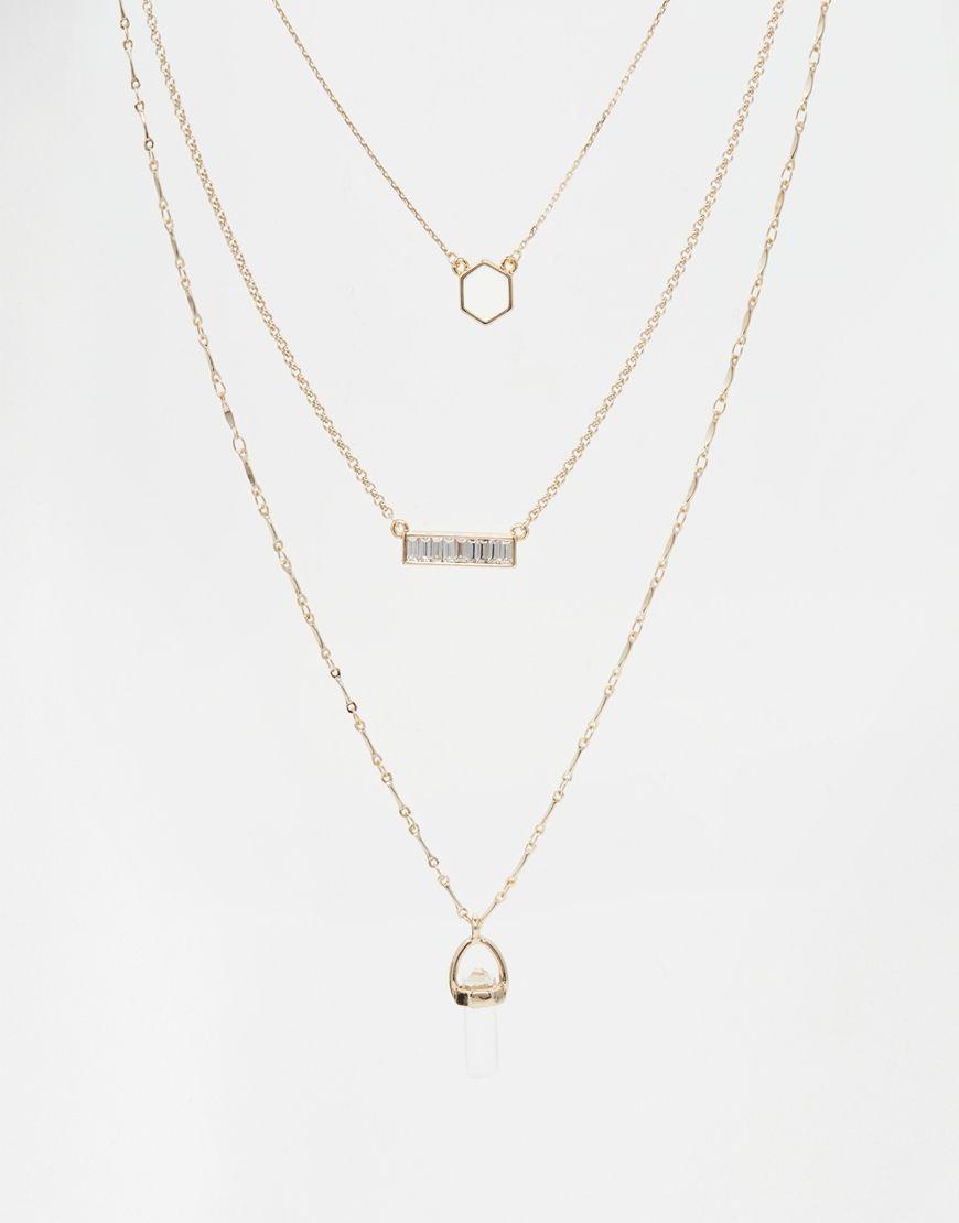 083972258ae2 Orelia Geo Luxe Multi Row Necklace