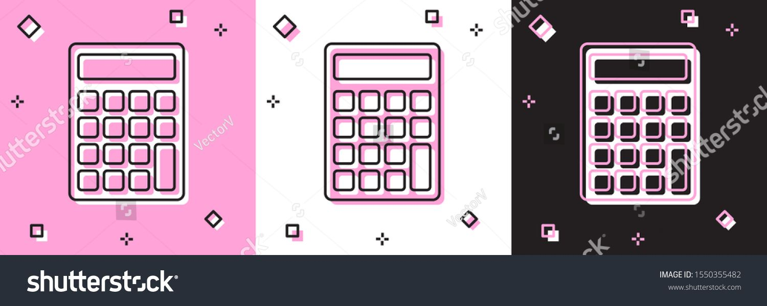 Set Calculator Icon Isolated On Pink And White Black Background Accounting Symbol Business Calculations Mathemati Mathematics Education Pink Background Icon