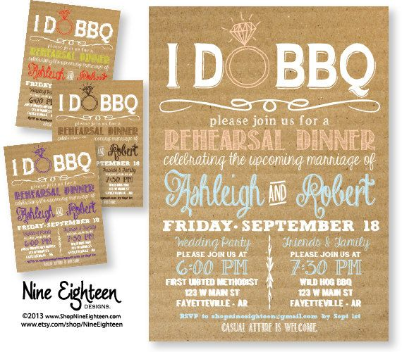 I Do Bbq Rehearsal Dinner Invitation Cardboard Look Custom Printable Pdf Design