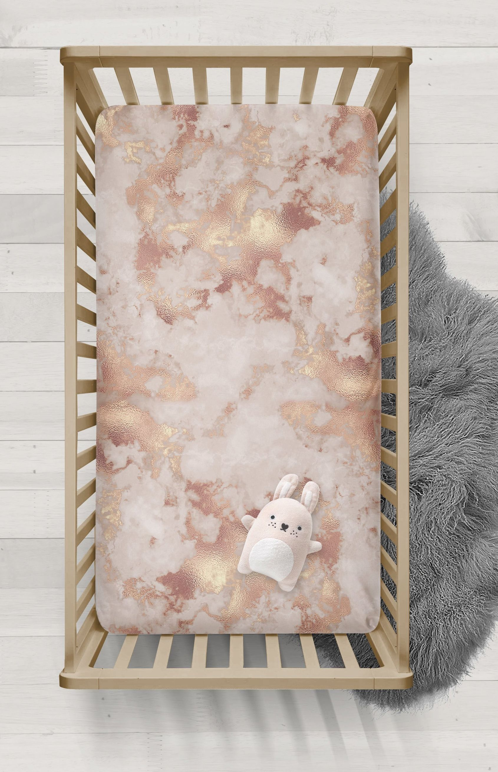 Rose Gold Marble Fitted Crib Sheet Pink Baby Girl Bedding