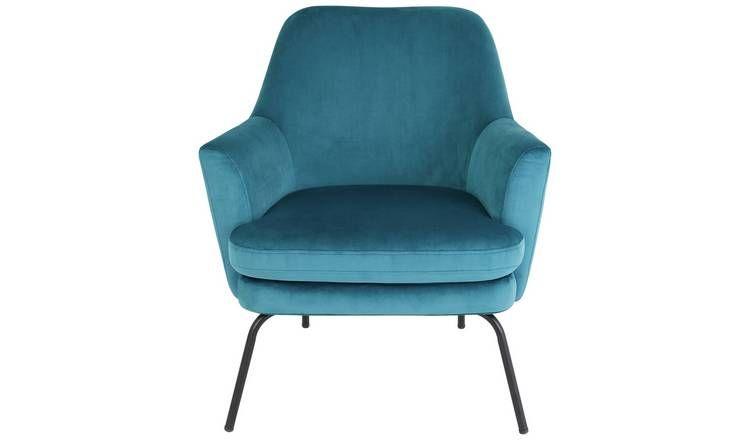 Buy Habitat Celine Velvet Accent Chair Blue Armchairs And