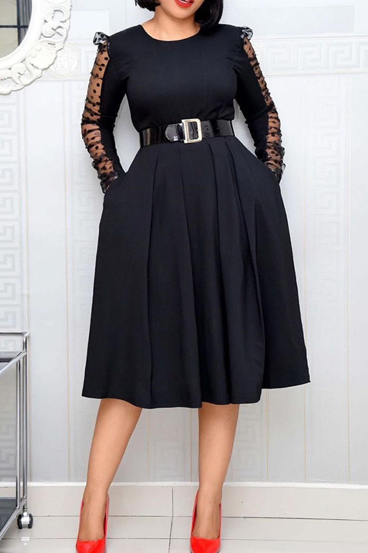 Elegant Long Sleeve Dress Plus Size Dresses For Women Ladies Clothes Midi In 2021 Long Sleeve Mesh Dress Womens Dresses Long Sleeve Dress Spring [ 1500 x 1000 Pixel ]