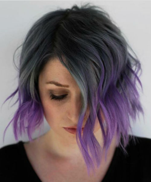 Excellent Dip Dye Purple Hair Color And Short Haircuts For Girls And Women Bright Hair Colors Hair Inspiration Short Dip Dye Hair