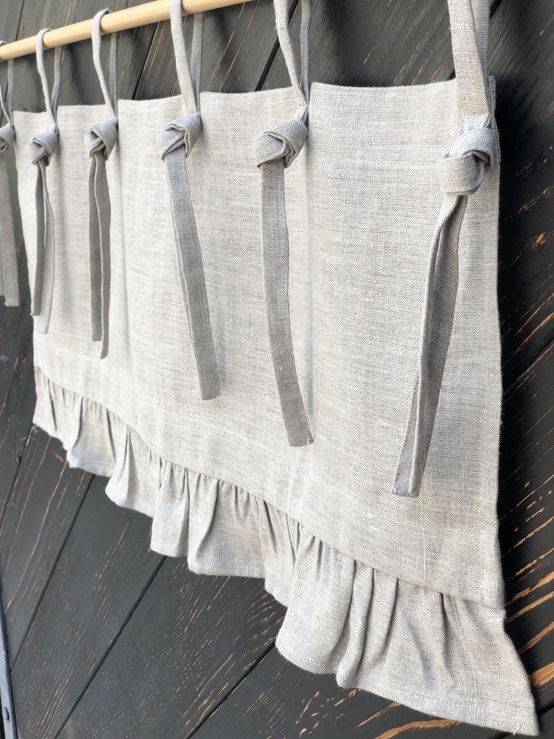 Photo of Linen Curtains French Country Chic Cottage Ruffle Valance Simple Rustic  Window Treatment Natural Flax Linen Kitchen Curtain Farmhouse Decor