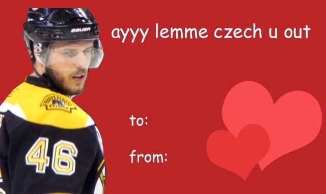 Krejci Valentine S Day Hockey Valentines Bruins Hockey Hockey Life