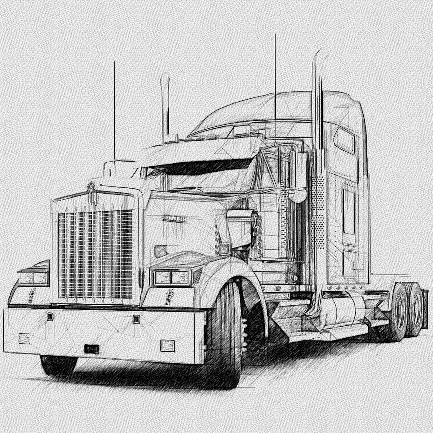 Kenworth Tractor Cab Lh Frt Camion Dibujo Tatuaje De Camion Camiones