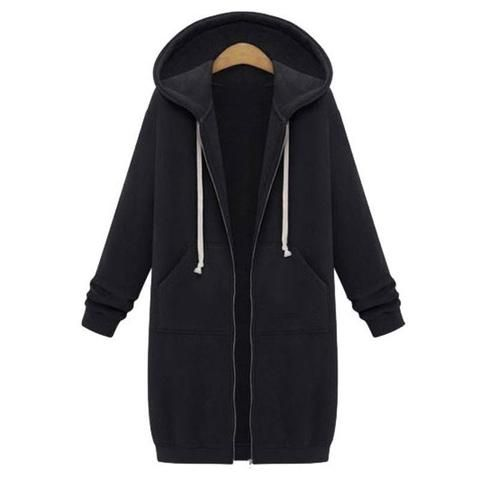 Womens Casual Zipper Open Hoodie Long Jacket Sweatshirt Jumper Coat Tops Outwear