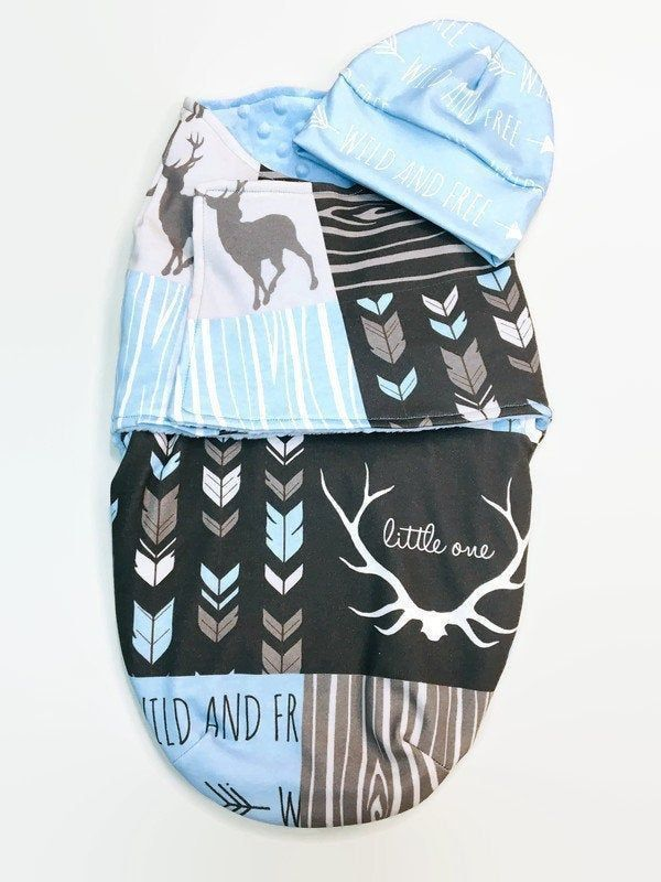 Photo of Baby Boy Swaddle Blanket Set With Hat, Swaddle Blanket Baby Boy, Woodland Baby Blanket