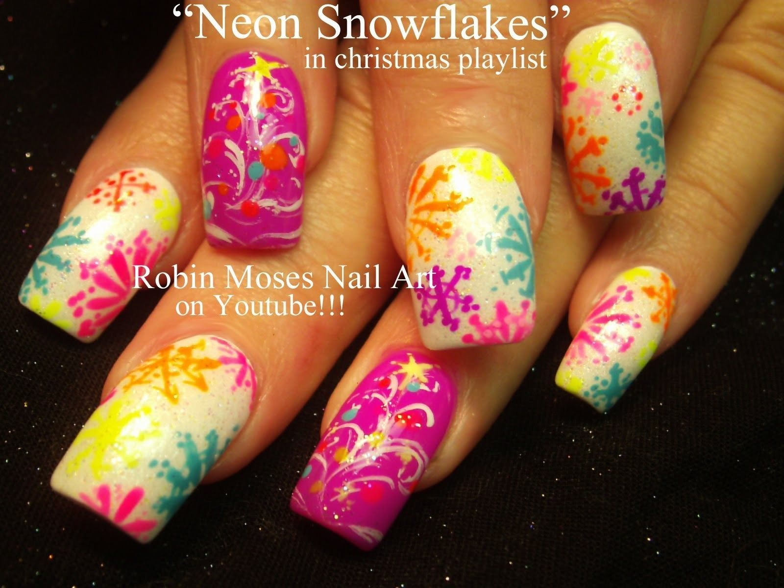 Nail Art Tutorial Diy Easy Christmas Nails Neon Snowflake Nails Xmas Trees Redchristmasnails Xmas Nail Art Snowflake Nail Art Skull Nail Art