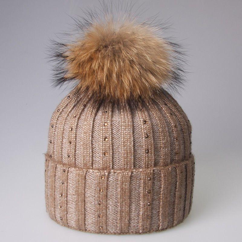 c4241593658 Bling Drill Women Hats Chunky Knitted Turn Up Beanie Raccoon Fur Pompom   fashion  clothing  shoes  accessories  womensaccessories  hats (ebay link)