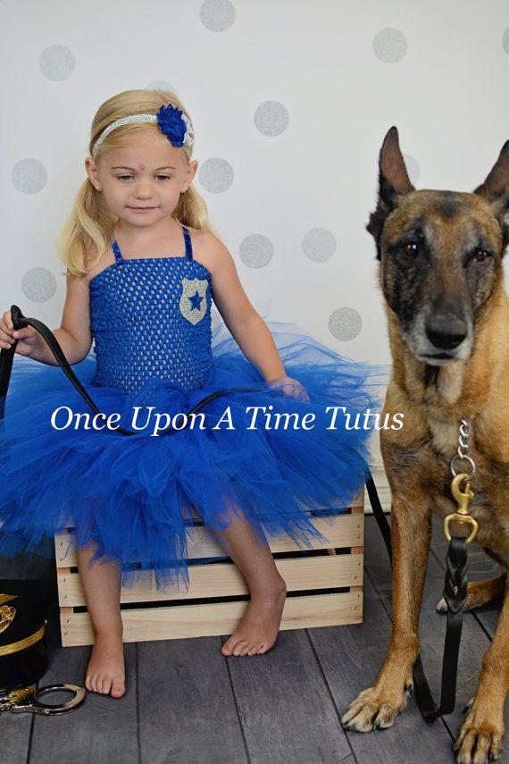 police officer girl tutu dress little girls by onceuponatimetutus - Girls Cop Halloween Costume