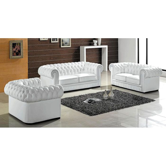 Paris Elegant 3 Piece Tufted Leather Sofa Set Living Room Sets Modern White Living Room Modern Sofa Designs
