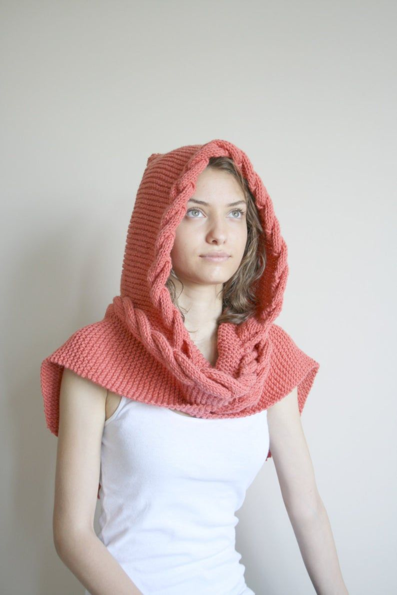 Photo of Hand Knit Coral Wool Hooded Cabled Scarf, Cable Long Hoodie Scarves, Autumn Gifts, Knit Scarf, Outdoors Gift, Christmas Gifts, Gift for Her