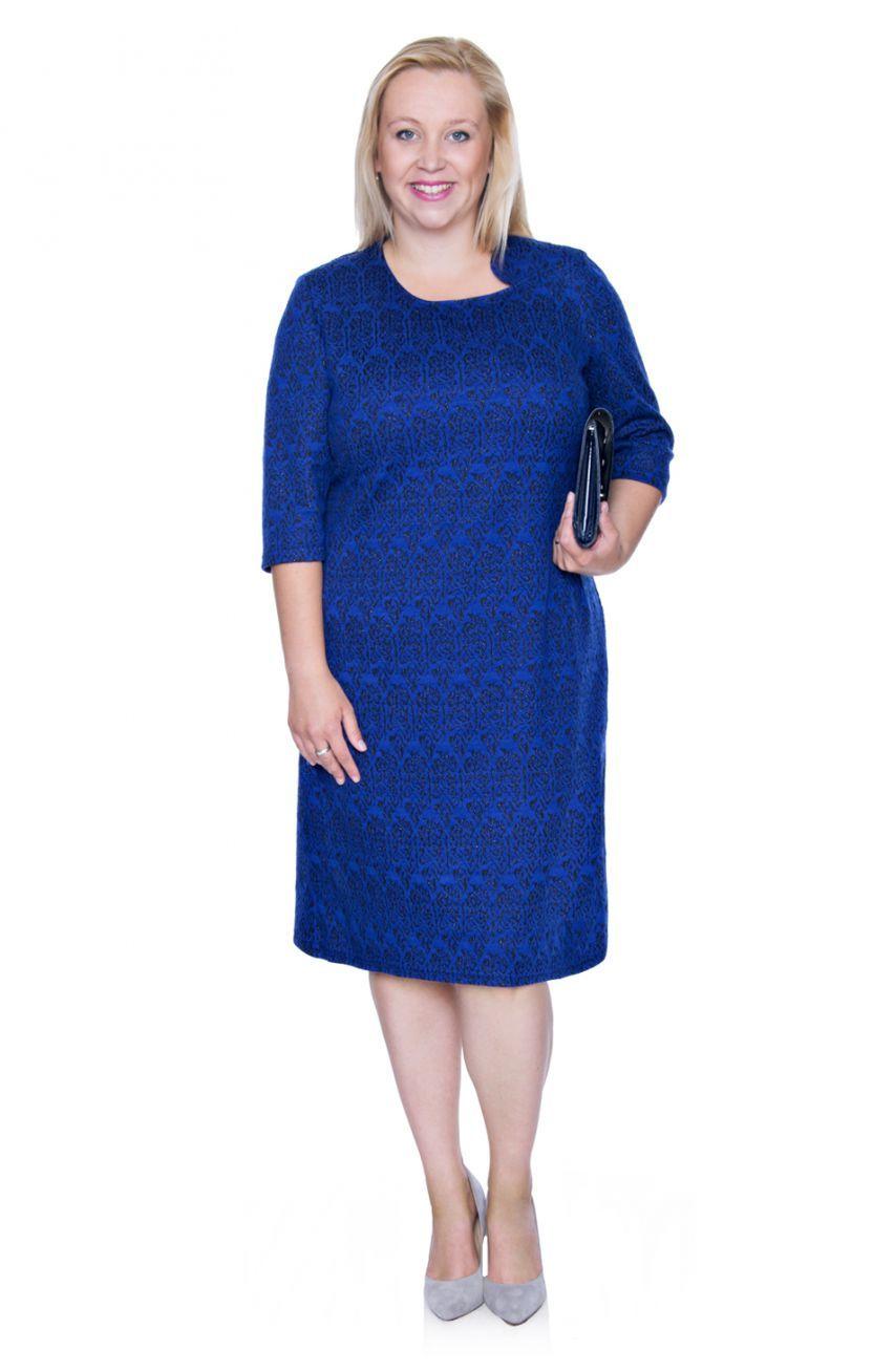 36fe43d160 Elegancka kobaltowa sukienka ze srebrną nitką - Modne Duże Rozmiary ...