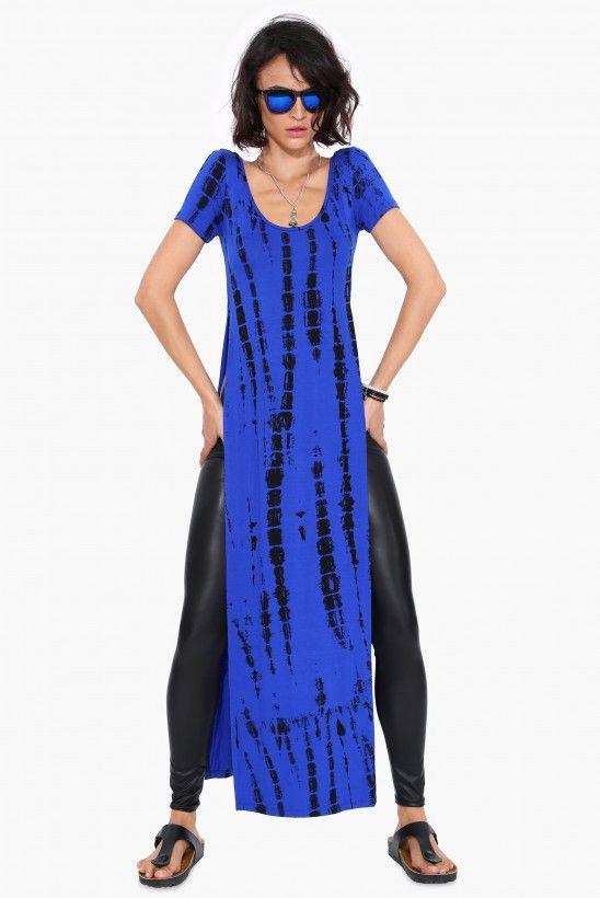 Tie Dye Shirt Dress in Cobalt blue | Necessary Clothing