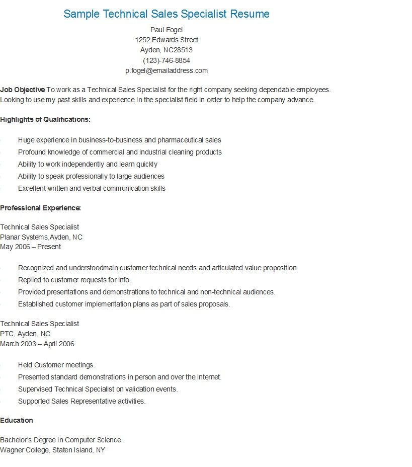 Sample Technical Sales Specialist Resume Technical Sales Resume