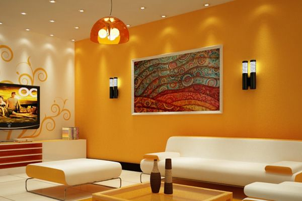 Disenos De Pintura Para Interiores Living Room Wall Color Room Wall Colors Living Room Orange