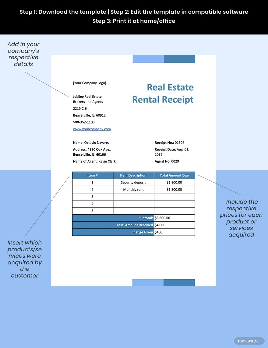 Real Estate Rental Receipt Template Word Excel Google Docs Apple Mac Pages Google Sheets Apple Mac Numbers Templates Printable Free Document Templates Receipt Template
