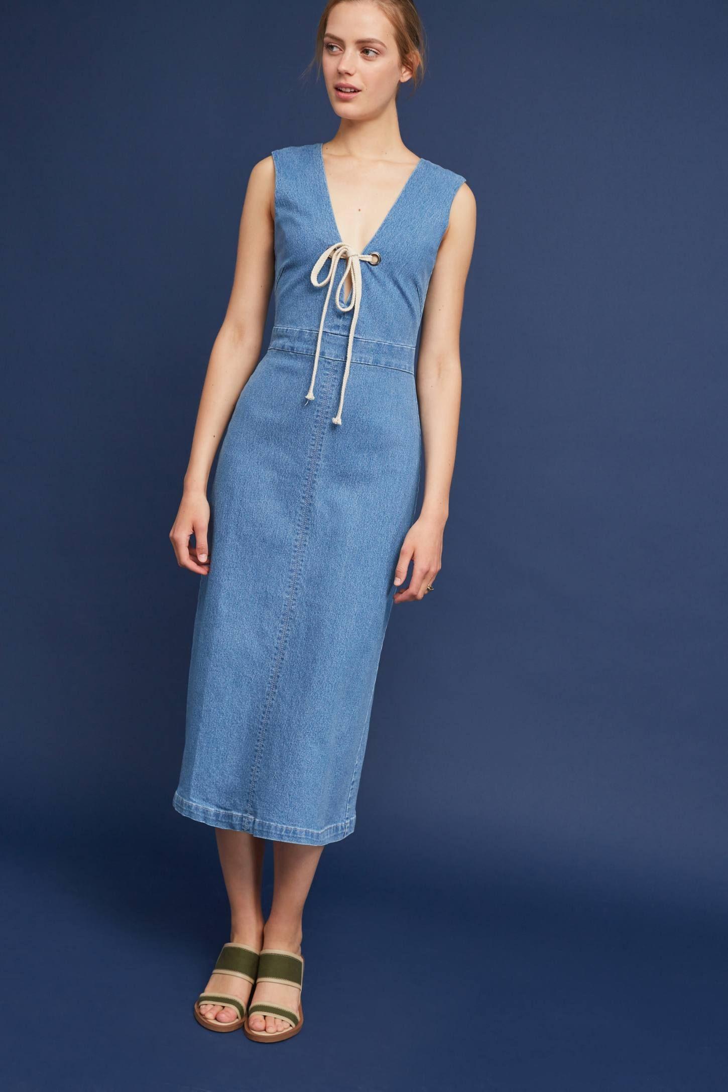 Rope-Tied Denim Midi Dress   Denim midi dress, Rope tying and Midi ...