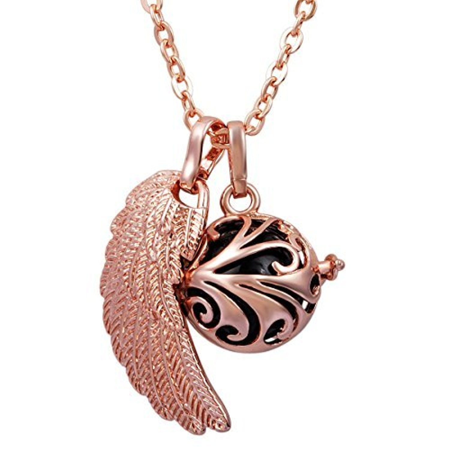 Eudora Rose Gold Angel Wing Chain Necklace Pendant for Women Lucky
