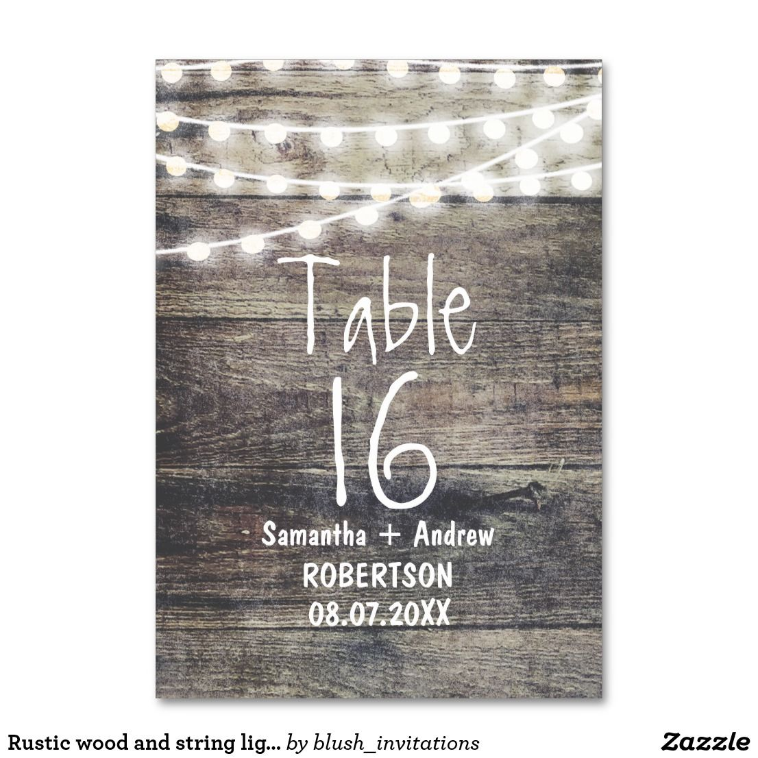 Rustic Wood And String Lights Table Number