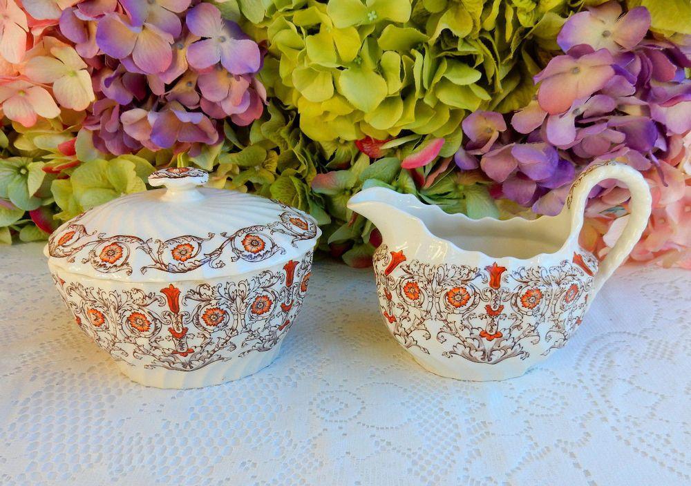 Beautiful Vintage Copeland Spode Sugar ~ Creamer ~ Sorrento ~ Floral ~ Scrolls #CopelandSpode