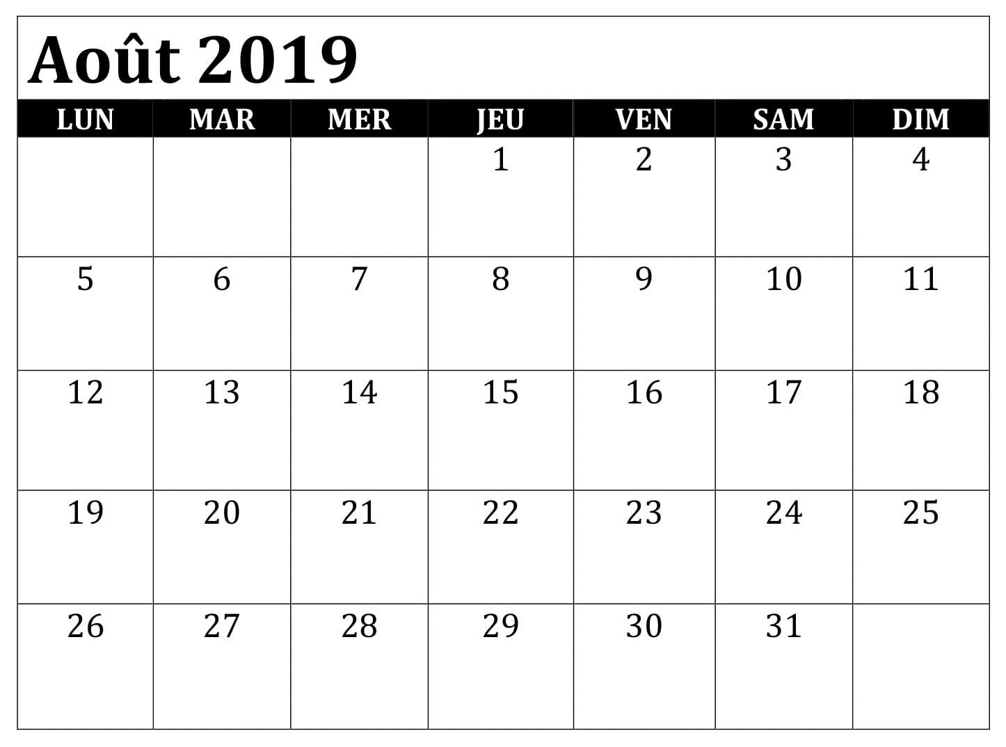 Calendrier Aout2019.Calendrier Aout 2019 Pdf Words Periodic Table