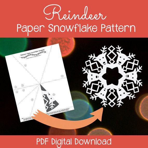 reindeer paper snowflake template  Reindeer paper snowflake pattern - PDF download #snowflakes ...