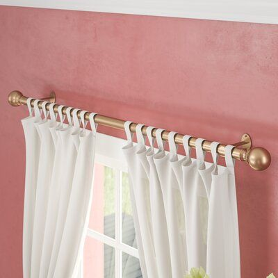 Alcott Hill Darion Ball Single Curtain Rod Hardware Set Colour Soft Gold Size 48 86 In 2020 Curtain Rod Hardware Curtain Rods Curtains