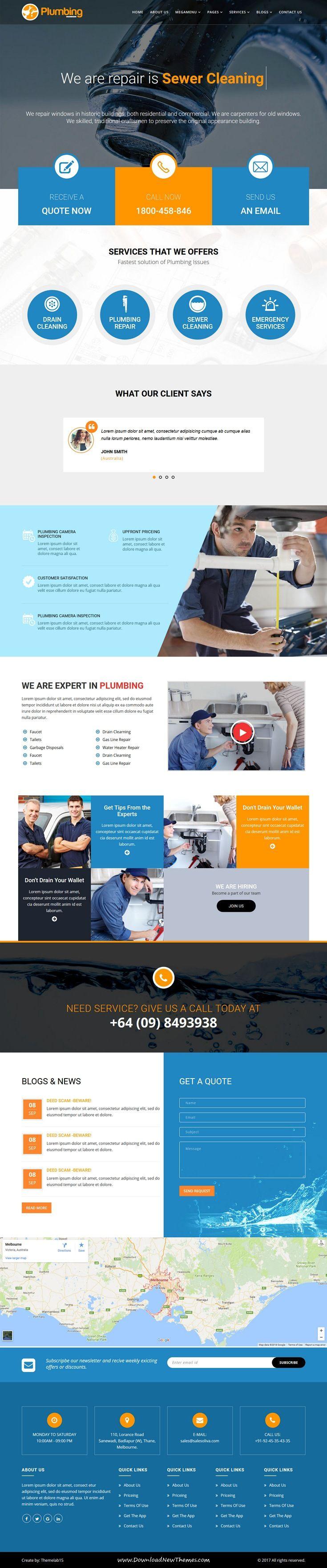 Plumbia Company Html Template Web Layout Design Web Design Services Flat Web Design