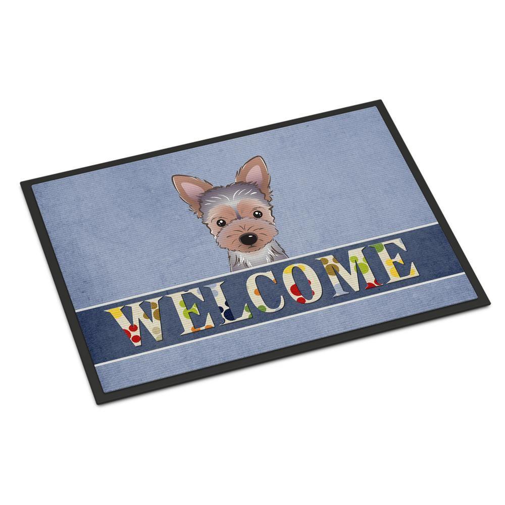 Multicolor Carolines Treasures BB1418MAT Yorkie Puppy Welcome Indoor or Outdoor Mat 18 x 27