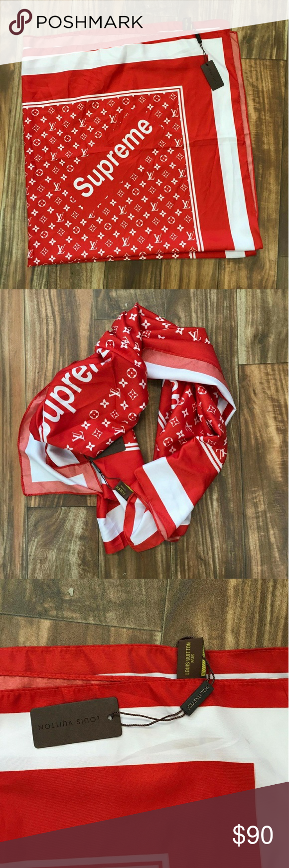 Supreme X Louis Vuitton Bandana New Fast2 3 Days Shipping Accessories Scarves Wraps