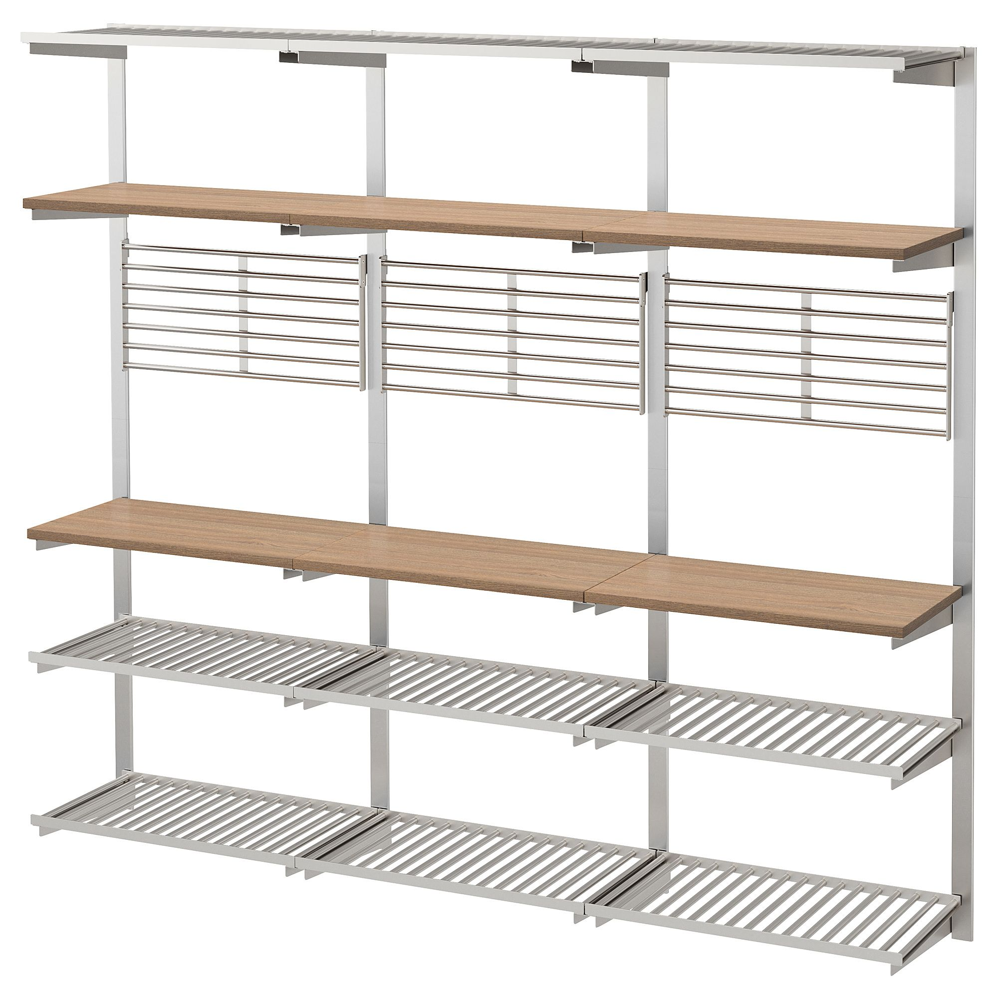 Kungsfors Suspension Rail With Shelf Wll Grid Stainless Steel Ash Find It Here Ikea Shelves Ikea Ikea Wall