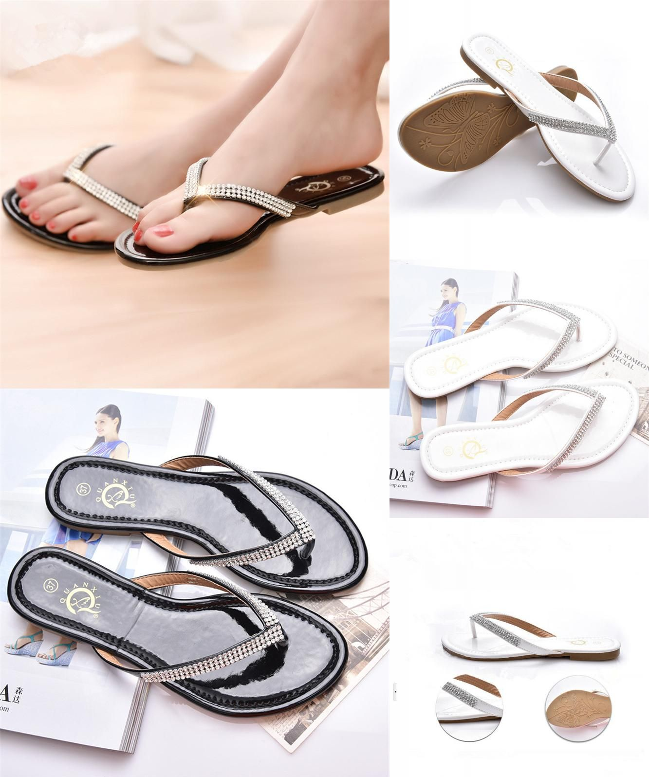 1f1395af576  Visit to Buy  Hot sale women flip flop women shoes fashion rhinestone flat  sandals