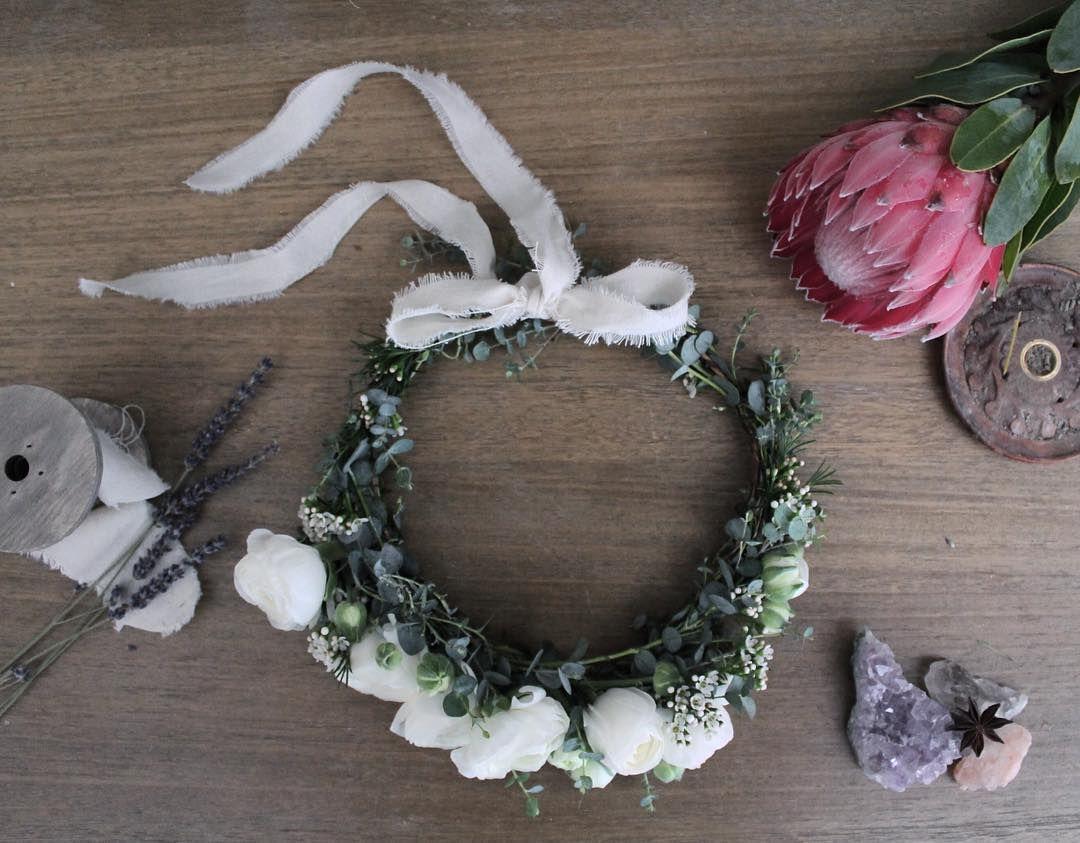 The Minimalist Flower Crown White Ranunculus Eucalyptus And Wax Flowers White Wax Flower Flower Crown Wax Flowers