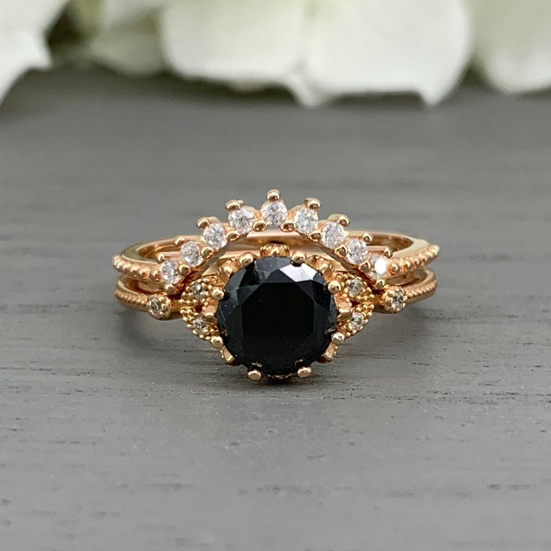Round Black And White Diamond Simulated 14K Rose Gold Ring