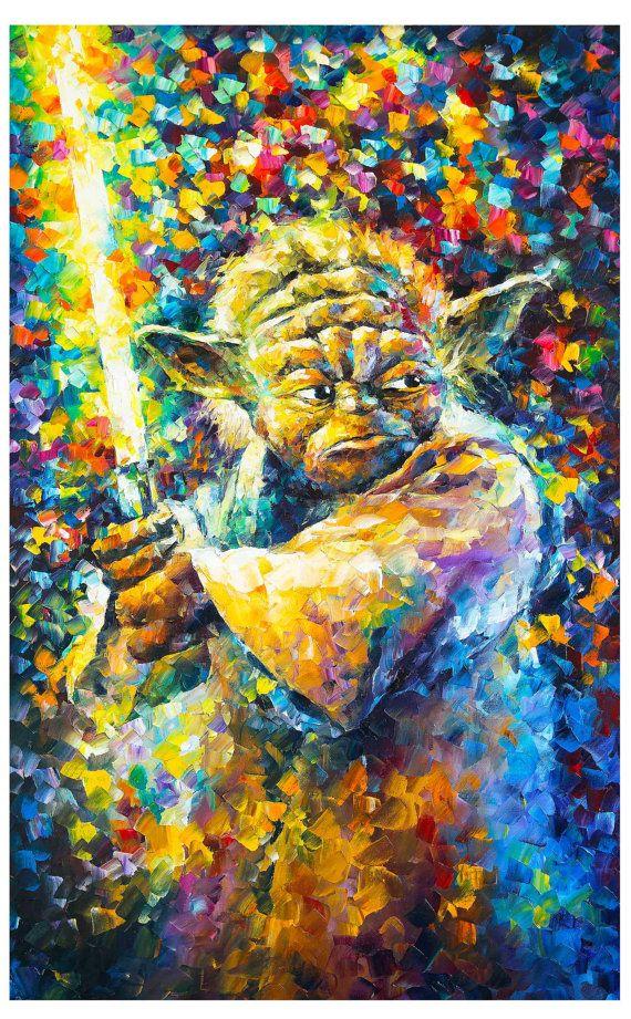 Star Wars Prints GIclee Yoda Wall Art On Canvas By Leonid Afremov ...