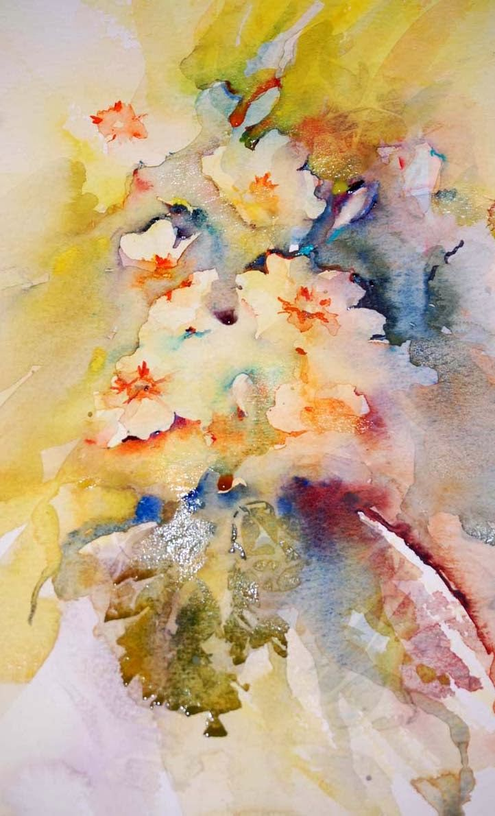 Delicate Brushstrokes Flower Painting Watercolor Watercolor