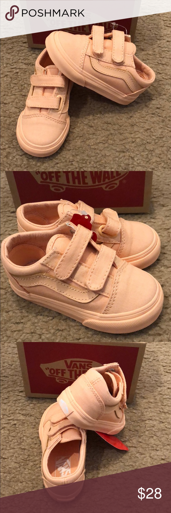 689be986f7 Mono Canvas Old Skool Velcro Vans New in box. Apricot ice Vans Shoes  Sneakers