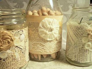 Embellish jars for cheap, pretty craft room storage.