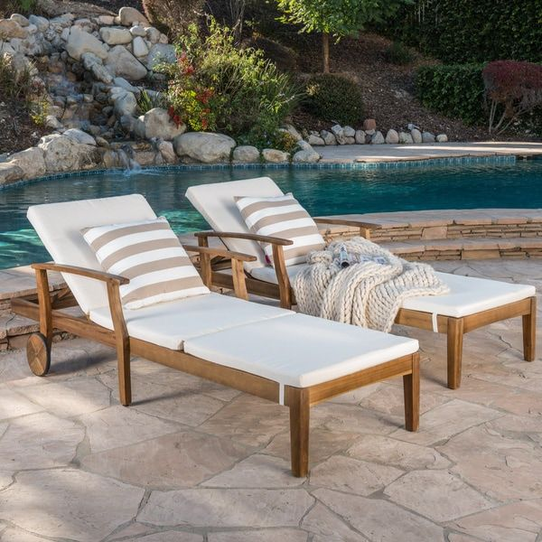 Perla Outdoor Acacia Wood Chaise Lounge with Cushion (Set ...