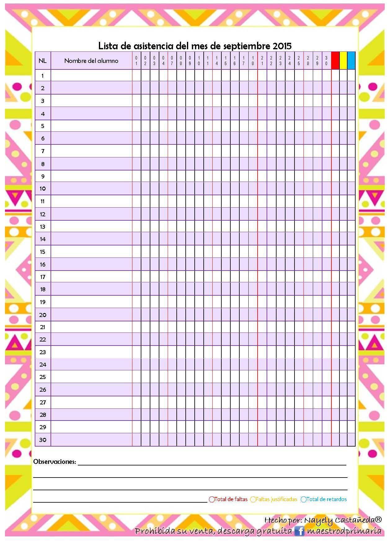 Nueva Agenda Ciclo 2015 2016 Formatos Editables Motivos Melonheadz Aulas Rimas Aula Infantil Formato lista de asistencia escolar