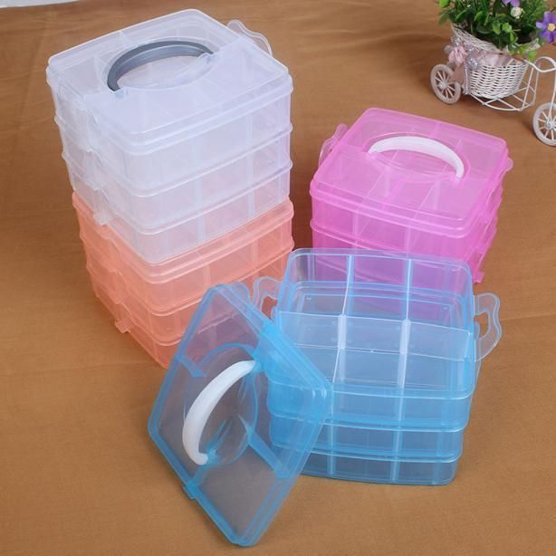 3 Layer Jewelry Bead Storage Box Clear Plastic Container Craft Organizer Case