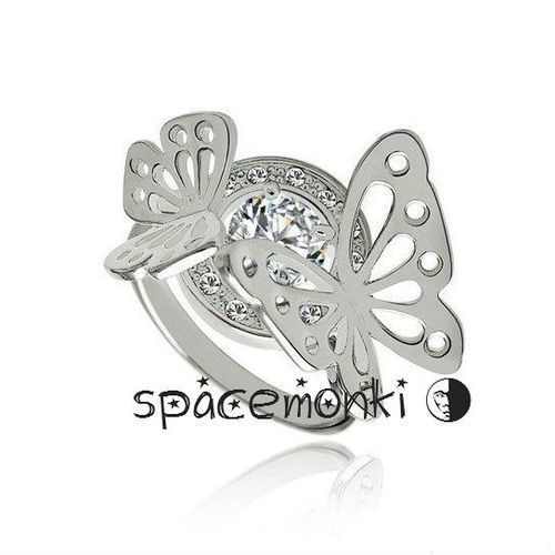 1 Carat CZ ~ Gorgeous Butterfly Platinum Plt SZ 6.5,7.5. Starting at $1 on Tophatter.com!