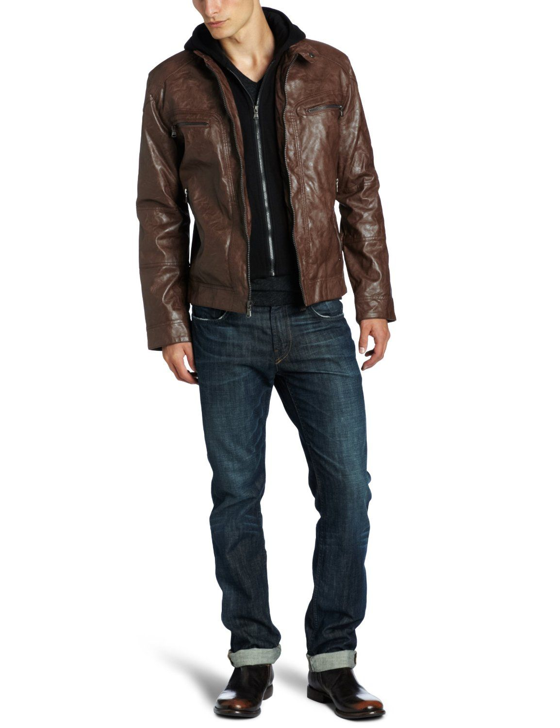 65d2128d291a Calvin Klein Men s Faux Leather Moto Jacket With Hoodie http   amzn.to