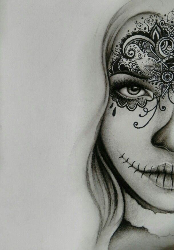 Free hand sketch day of the dead style. Charcoal and pen. #tattoos #design #art